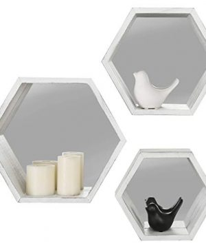 MyGift Vintage White Hexagon Wall Mounted Floating Shelves With Mirrored Backing Set Of 3 0 3 300x360