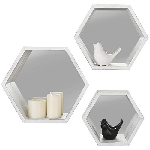 MyGift Vintage White Hexagon Wall Mounted Floating Shelves With Mirrored Backing Set Of 3 0 3