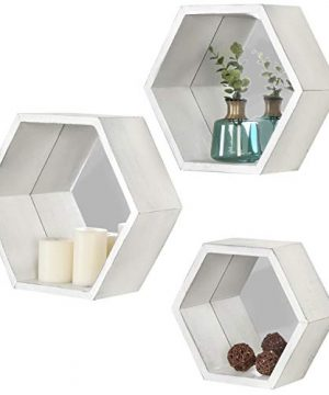 MyGift Vintage White Hexagon Wall Mounted Floating Shelves With Mirrored Backing Set Of 3 0 300x360