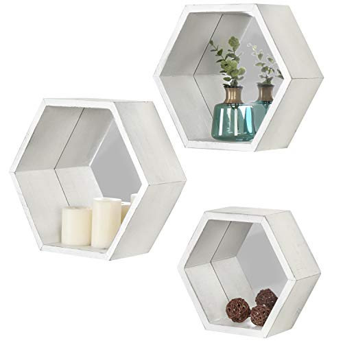 MyGift Vintage White Hexagon Wall Mounted Floating Shelves With Mirrored Backing Set Of 3 0