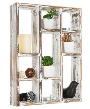 MyGift Vintage Whitewashed Wood Freestanding Wall Mountable 9 Slot Shadow Box Display Shelf 0 300x360