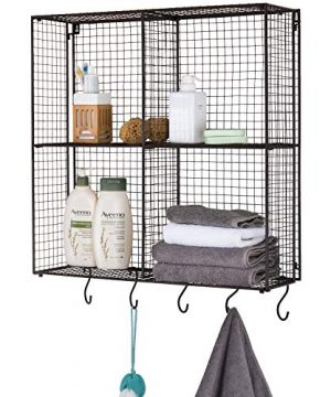 MyGift Wall Mounted Brown Metal Wire 4 Compartment Storage Rack With 5 S Hooks 0 300x360