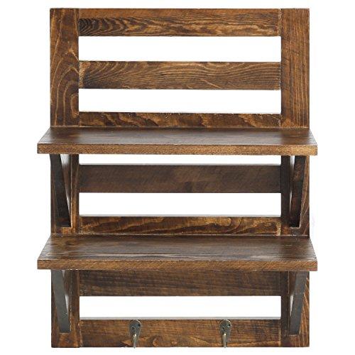 MyGift Wall Mounted Dark Brown Wood 2 Tier Floating Shelf Rack With 2 Key Hooks 0 0
