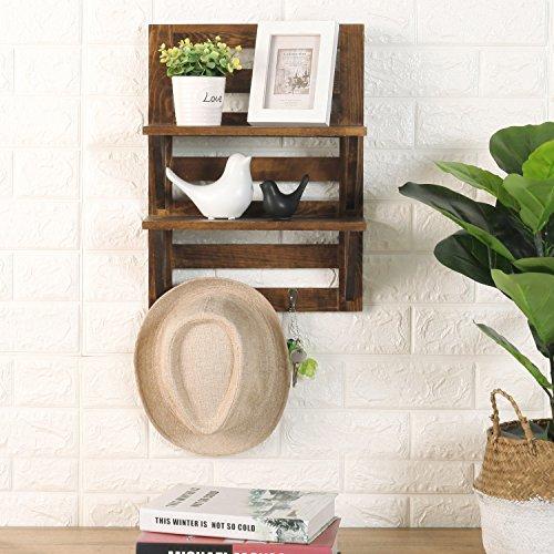 MyGift Wall Mounted Dark Brown Wood 2 Tier Floating Shelf Rack With 2 Key Hooks 0 2