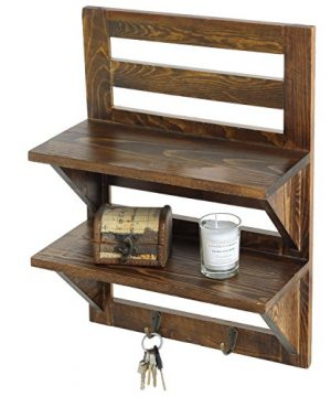 MyGift Wall Mounted Dark Brown Wood 2 Tier Floating Shelf Rack With 2 Key Hooks 0 300x360