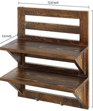 MyGift Wall Mounted Dark Brown Wood 2 Tier Floating Shelf Rack With 2 Key Hooks 0 4 300x360