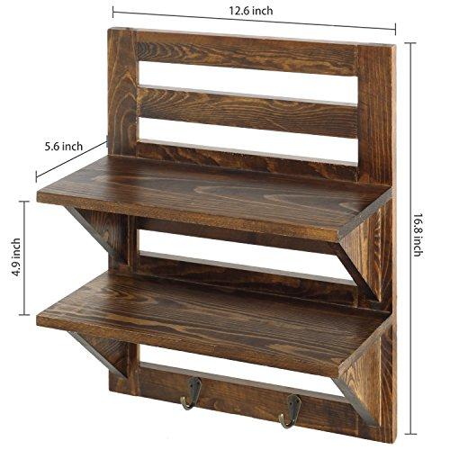 MyGift Wall Mounted Dark Brown Wood 2 Tier Floating Shelf Rack With 2 Key Hooks 0 4