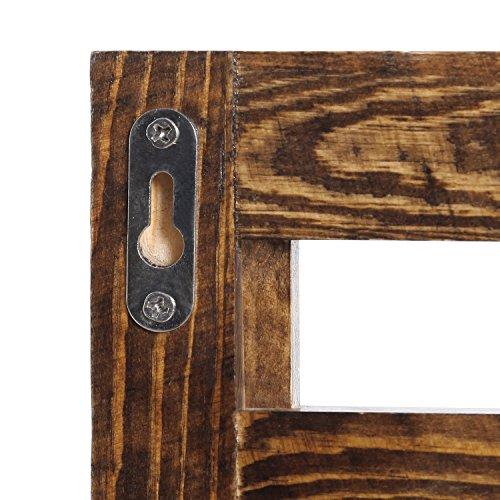 MyGift Wall Mounted Dark Brown Wood 2 Tier Floating Shelf Rack With 2 Key Hooks 0 5