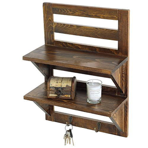 MyGift Wall Mounted Dark Brown Wood 2 Tier Floating Shelf Rack With 2 Key Hooks 0