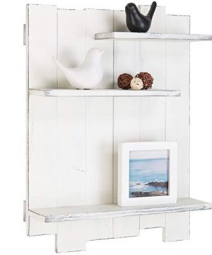 MyGift Wall Mounted Whitewashed Wood Pallet Style 3 Tier Display Shelf 0 300x360