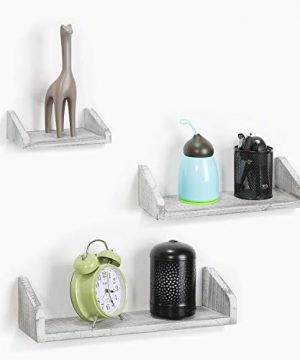 NEX Floating Wall Mounted Shelves Set Of 3 Real Wood Bathroom Shelves Kitchen Decorations Wall Shelf 0 2 300x360