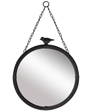 NIKKY HOME 1125 Vintage Round Metal Framed Wall Mounted Mirror With Bird In Matt Black 0 300x360
