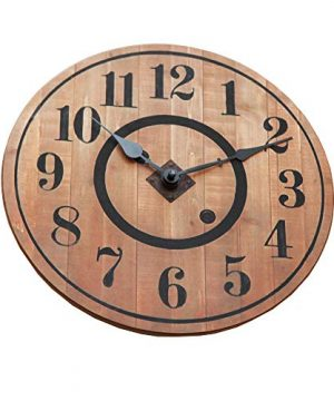 NIKKY HOME 12 Noiseless Antique Farmhouse Wood Round Wall Clock Burlywood 0 0 300x360