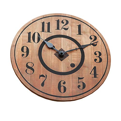 NIKKY HOME 12 Noiseless Antique Farmhouse Wood Round Wall Clock Burlywood 0 0