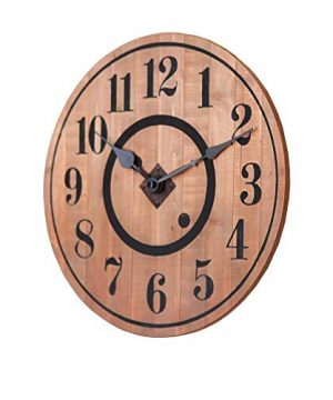 NIKKY HOME 12 Noiseless Antique Farmhouse Wood Round Wall Clock Burlywood 0 1 300x360