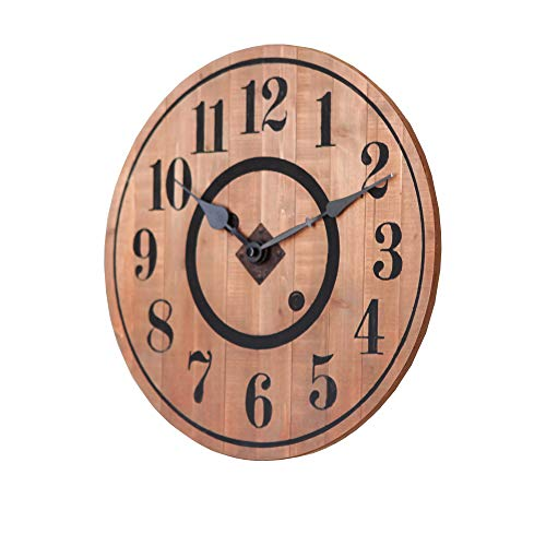NIKKY HOME 12 Noiseless Antique Farmhouse Wood Round Wall Clock Burlywood 0 1