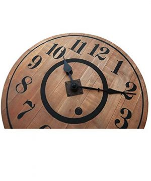NIKKY HOME 12 Noiseless Antique Farmhouse Wood Round Wall Clock Burlywood 0 2 300x360