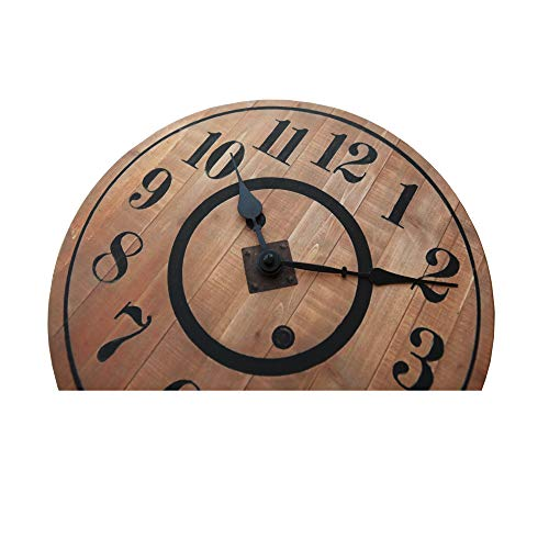 NIKKY HOME 12 Noiseless Antique Farmhouse Wood Round Wall Clock Burlywood 0 2
