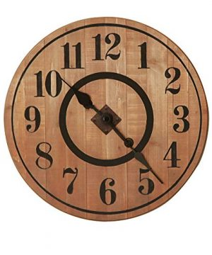 NIKKY HOME 12 Noiseless Antique Farmhouse Wood Round Wall Clock Burlywood 0 300x360