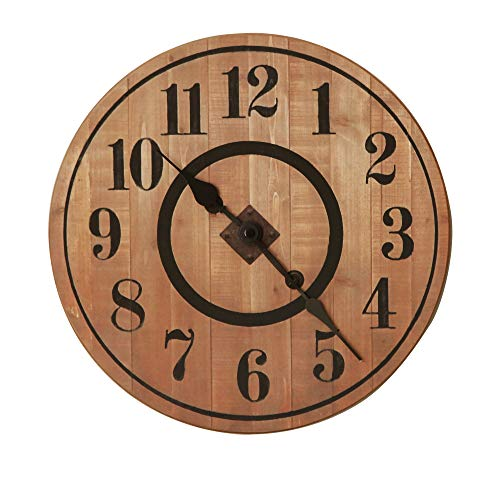 NIKKY HOME 12 Noiseless Antique Farmhouse Wood Round Wall Clock Burlywood 0