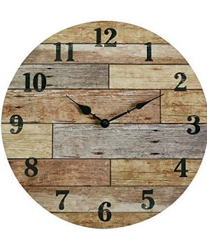NIKKY HOME 16 Rustic Silent Noiseless Spliced Coastal Wood Round Wall Clock 0 300x360