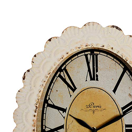 NIKKY HOME Paris Flower Wall Clock 13 38 X 2 34 X 18 18 Off Off White 0 0