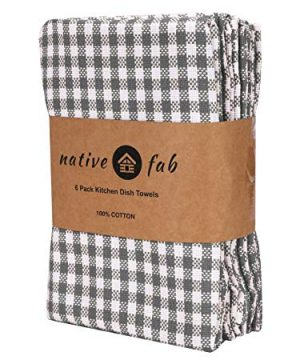 Native Fab 6 Pack Gingham Farmhouse Kitchen Dish Towels Cotton Absorbent Durable Washable 15x25 Tea Towels Dish Cloths Restaurant Cleaning Towels Kitchen Towels With Hanging Loop Grey White 0 0 300x360