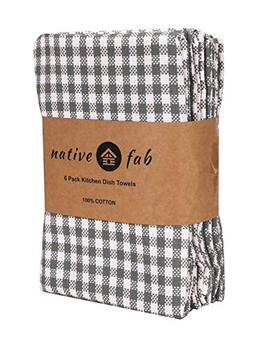 Native Fab 6 Pack Gingham Farmhouse Kitchen Dish Towels Cotton Absorbent Durable Washable 15x25 Tea Towels Dish Cloths Restaurant Cleaning Towels Kitchen Towels With Hanging Loop Grey White 0 0
