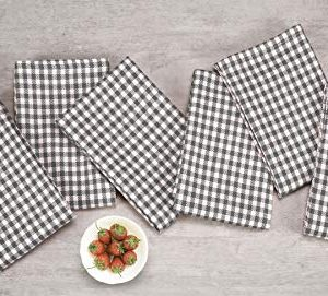 Native Fab 6 Pack Gingham Farmhouse Kitchen Dish Towels Cotton Absorbent Durable Washable 15x25 Tea Towels Dish Cloths Restaurant Cleaning Towels Kitchen Towels With Hanging Loop Grey White 0 1 300x271