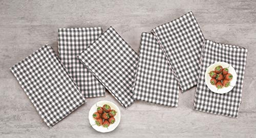 Native Fab 6 Pack Gingham Farmhouse Kitchen Dish Towels Cotton Absorbent Durable Washable 15x25 Tea Towels Dish Cloths Restaurant Cleaning Towels Kitchen Towels With Hanging Loop Grey White 0 1