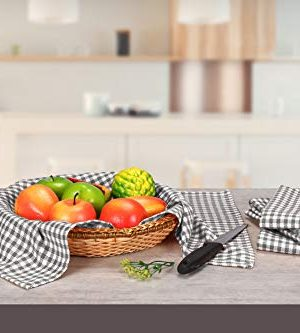 Native Fab 6 Pack Gingham Farmhouse Kitchen Dish Towels Cotton Absorbent Durable Washable 15x25 Tea Towels Dish Cloths Restaurant Cleaning Towels Kitchen Towels With Hanging Loop Grey White 0 2 300x333