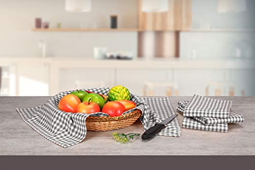 Native Fab 6 Pack Gingham Farmhouse Kitchen Dish Towels Cotton Absorbent Durable Washable 15x25 Tea Towels Dish Cloths Restaurant Cleaning Towels Kitchen Towels With Hanging Loop Grey White 0 2
