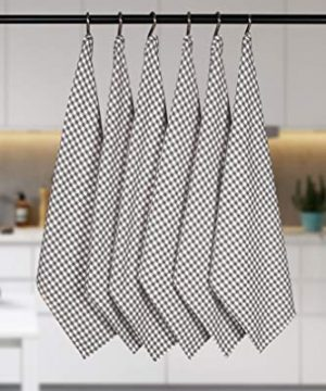 Native Fab 6 Pack Gingham Farmhouse Kitchen Dish Towels Cotton Absorbent Durable Washable 15x25 Tea Towels Dish Cloths Restaurant Cleaning Towels Kitchen Towels With Hanging Loop Grey White 0 3 300x360