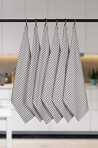 Native Fab 6 Pack Gingham Farmhouse Kitchen Dish Towels Cotton Absorbent Durable Washable 15x25 Tea Towels Dish Cloths Restaurant Cleaning Towels Kitchen Towels With Hanging Loop Grey White 0 3