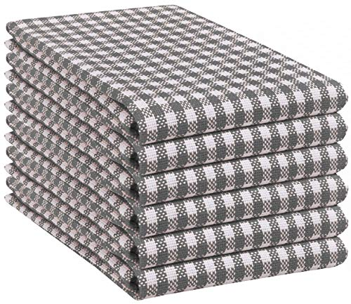 Native Fab 6 Pack Gingham Farmhouse Kitchen Dish Towels Cotton Absorbent Durable Washable 15x25 Tea Towels Dish Cloths Restaurant Cleaning Towels Kitchen Towels With Hanging Loop Grey White 0
