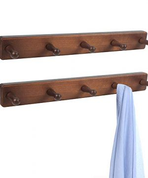 OROPY Solid Wood Coat Hook Vintage Wall Mounted Rack With 5 Storage Pegs For Hanging Hats Coats Scarves Purses 157 L 196 W 2 Pack Walnut Color 0 300x360