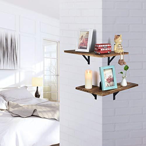 Olakee Corner Wall Shelves Rustic Wood Corner Floating Shelves For Bedroom Living Room Bathroom Kitchen Set Of 2 Carbonized Black 0 1