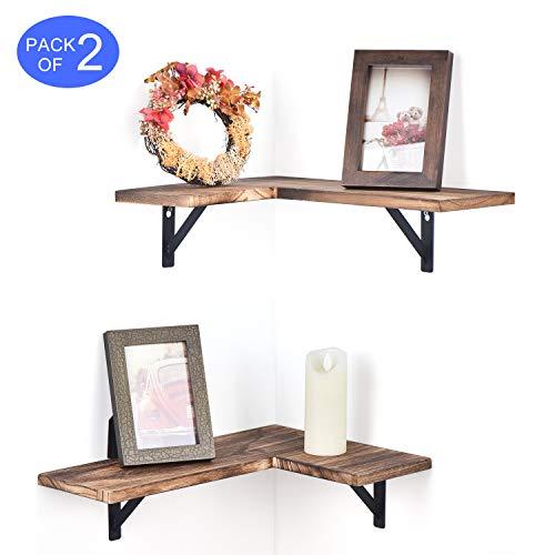 Olakee Corner Wall Shelves Rustic Wood Corner Floating Shelves For Bedroom Living Room Bathroom Kitchen Set Of 2 Carbonized Black 0