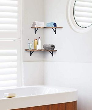 Olakee Corner Wall Shelves Rustic Wood Corner Floating Shelves For Bedroom Living Room Bathroom Kitchen Set Of 2 Renewed 0 2 300x360