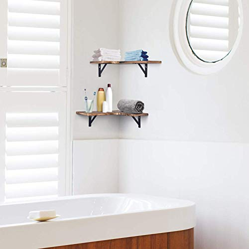 Olakee Corner Wall Shelves Rustic Wood Corner Floating Shelves For Bedroom Living Room Bathroom Kitchen Set Of 2 Renewed 0 2