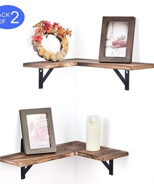 Olakee Corner Wall Shelves Rustic Wood Corner Floating Shelves For Bedroom Living Room Bathroom Kitchen Set Of 2 Renewed 0 300x360