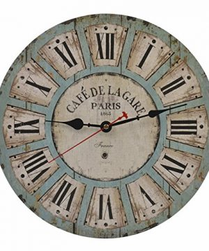 Old Oak 14 Inch Vintage Battery Operated Decorative Wall Clock Silent Non Ticking Round For Kitchen Living Room Bathroom Bedroom Wall Home Decor With Roman Numerals 0 300x360