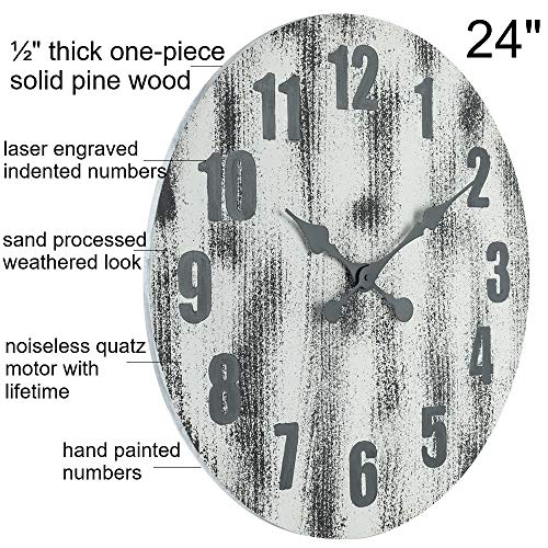 Oldtown 24 Inch Solid Pine Wood Weathered Gray White Rustic Farmhouse Engraved Arabic Number Wall Clock 24 Inch 0 0