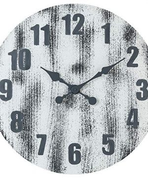 Oldtown 24 Inch Solid Pine Wood Weathered Gray White Rustic Farmhouse Engraved Arabic Number Wall Clock 24 Inch 0 300x360