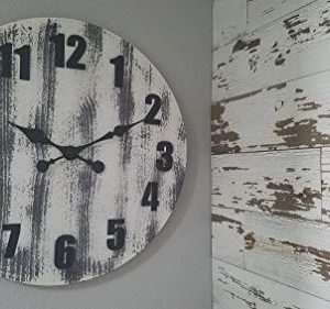 Oldtown 24 Inch Solid Pine Wood Weathered Gray White Rustic Farmhouse Engraved Arabic Number Wall Clock 24 Inch 0 4 300x281