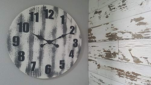 Oldtown 24 Inch Solid Pine Wood Weathered Gray White Rustic Farmhouse Engraved Arabic Number Wall Clock 24 Inch 0 4