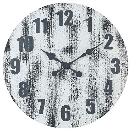 Oldtown 24 Inch Solid Pine Wood Weathered Gray White Rustic Farmhouse Engraved Arabic Number Wall Clock 24 Inch 0