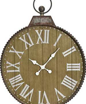 Oldtown 29 X 24 Hanging Ring Farmhouse Corrugated Zinc Metal Wood Noiseless Wall Clock Wood Zinc 24 Inch 0 300x360