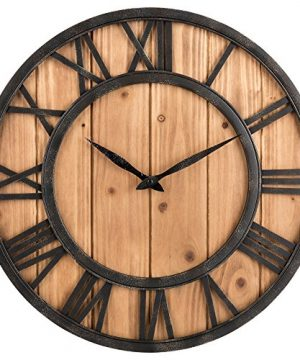 Oldtown Farmhouse Rustic Barn Vintage Bronze Metal Solid Wood Noiseless Big Oversized Wall Clock Large 18 Inch 0 300x360
