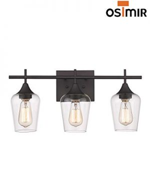 Osimir 3 Light Wall Sconce Industrial Bathroom Vanity Light Over Mirror Wall Lamp For Makeup Dressing Table Hallway Bedroom Light Clear Glass Shade Oil Rubbed Bronze Finish WL9167 3A 0 4 300x360